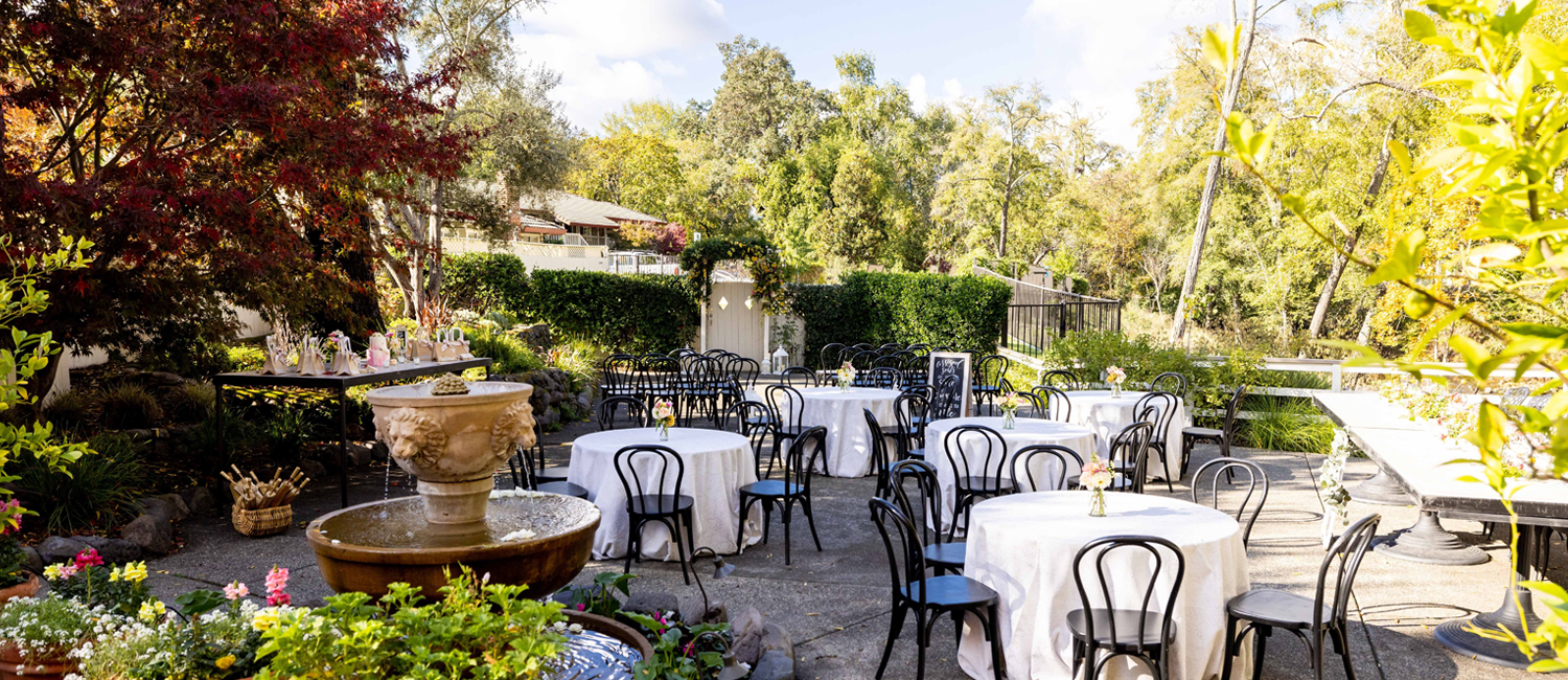 ENJOY DINING AT OUR OUTDOOR CREEKSIDE PATIO
